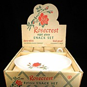 Vintage 8 Pc. Rosecrest Snack Set by Federal Glass Co. in Original Box with Original Price Sticker