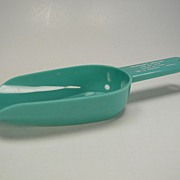 Vintage Turquoise Blue Plastic Scoop with Advertisement