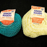 Two Vintage 1950 Handy Mandy Pot Cleaners with Original Labels