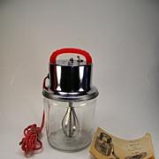 Vintage 1950's  Speedee Mixer with Cherry Red Bakelite Handle & Original Instructions