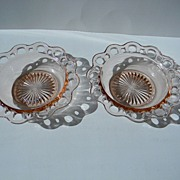 "Two Pink ""Old Colony"", ""Lace Edge"", ""Open Lace"" Cereal Bowls"
