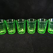 Six Green Pillar Optic Water Tumblers by Anchor Hocking