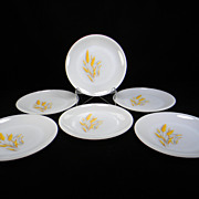 Six Fire King Wheat Pattern Salad Plates