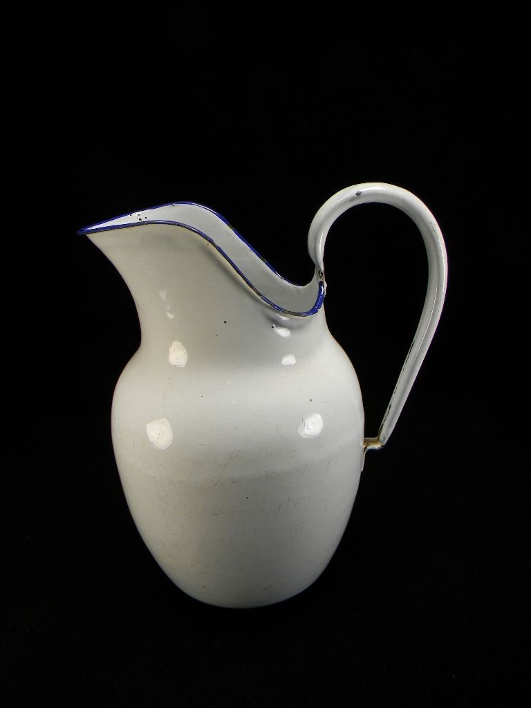 Vintage White Enamel Milk Pitcher with Blue Trim