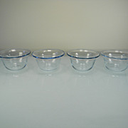 Four Fire King Sapphire Blue Individual Bakers/Custard Cups