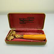 Vintage Schick Injector Razor with Butterscotch  Swirl Bakelite Handle in Original Box