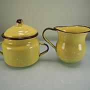 Vintage Yellow & White Speckled Enamel Creamer & Sugar with Brown Trim