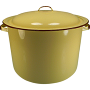 Vintage Yellow Enamel Stock Pot with Brown Trim