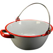 Vintage White Enamel Pan with Red Handle & Wire Bail