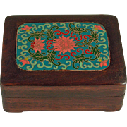 Chinese Rosewood Box with Cloisonne insert