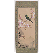 Vintage Chinese Hand Painted Silk Bird and Blossoms