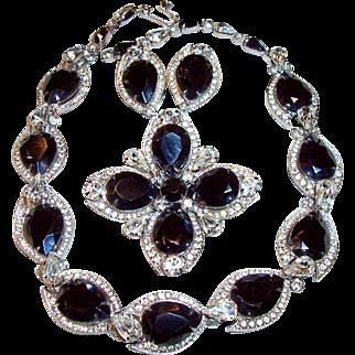 "Vintage KRAMER Black Crystal, Clear Rhinestone Set, Necklace, Earrings, Brooch, ""Diamond Look by Kramer"""