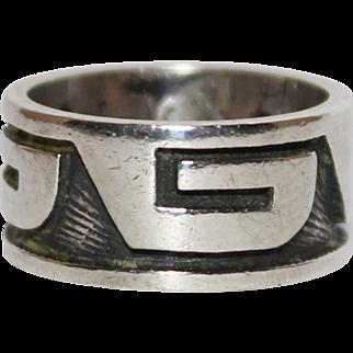REDUCED Vintage Sterling Hopi Indian Wide Band Ring, Size 6