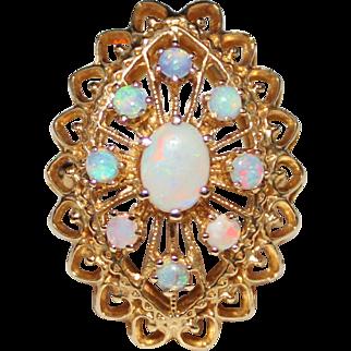 Vintage Estate 14k Yellow Gold Filigree Natural Opal Cluster Cocktail Ring, Size 9