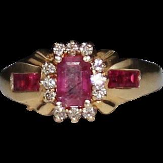Estate 14k Yellow Gold Natural Ruby & Diamond Ring, Size 7, 4.1 Grams, 1.24 CTW