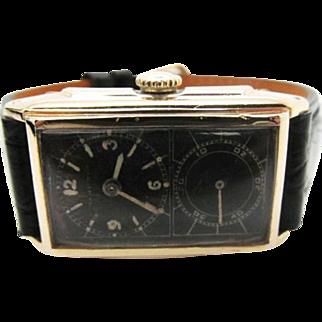SALE Vintage super rare 1935 mens Hamilton Seckron Doctors watch with black dial 980A Cal