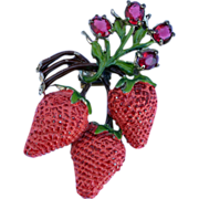 Beautiful Rare Vintage Strawberry Fur Clip Pin