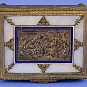 SALE Exquisite, Napoleon III, French, Palais Royal, Dore Bronze, Enamel & Mother of Pearl, Combination Music & Trinket / Dresser Box