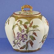 SALE Gorgeous, Circa 1890, English, Melon Shaped, Porcelain, Royal Worcester Biscuit Barrel / Jar
