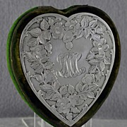 SALE One of a kind! Circa 1880, Black Starr & Frost, Sterling Silver, Heart Shaped, Bodkin Case / Sewing Kit / Trinket Box with Original, MATCHING, Simons Brothers, Sterling Silver Tools