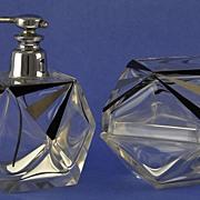 SALE GLITZY & LAVISH! Vintage, Art Deco Style, Dresser / Vanity Set: Atomizer Perfume Bottle & Matching Powder Jar!