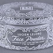 Circa 1940's, French, Lucien Lelong, Clear Glass, Face Powder / Trinket Jar