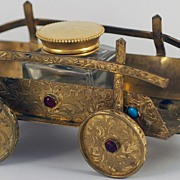 SALE Fabulous Figural, Vintage, Bronze & Jeweled Cart Inkwell Inkstand