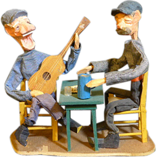 Hand carved and painted folk art or tramp art figurine's