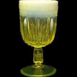 Exquisite Fenton Opalescent Vaseline Glass Cactus Design Goblet.