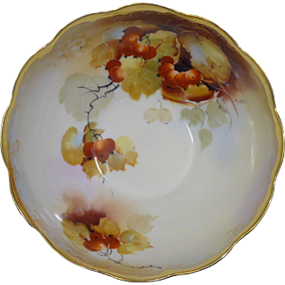 """Beautiful Pickard Hand Painted Scalloped edge ring-footed bowl with an """"Autumn Currents"""" design"""
