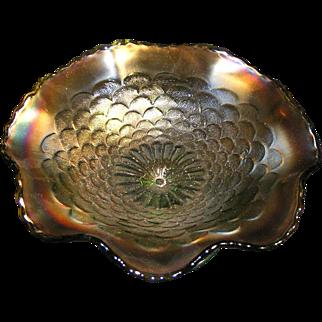 Rare Dugan Petals carnival glass compote