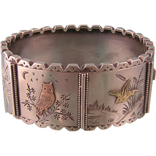 Antique Victorian Bangle Bracelet in Sterling Silver with Owl and Bird Scenes, Applied Rose and Yellow Gold