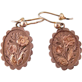 Antique Victorian Earrings in Silver with Gold Decorations, Petite Size