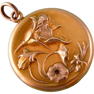 """Antique Art Nouveau Locket with Woman's Face in a Flower, Dark Stone, Inscribed """"Eva"""""""
