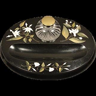 Victorian Pietra Dura Inkwell Pen Desk Accessory