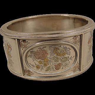 Victorian Sterling Gold Floral Bangle Bracelet