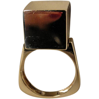 14K Modernist Cube Sculptural Ring