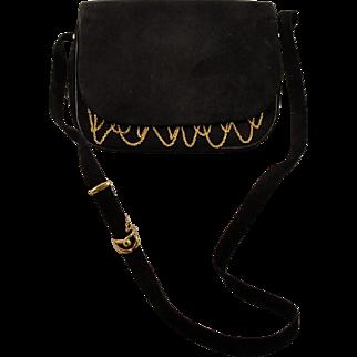 Vintage Cartier Gold Plated Suede Purse Bag paris