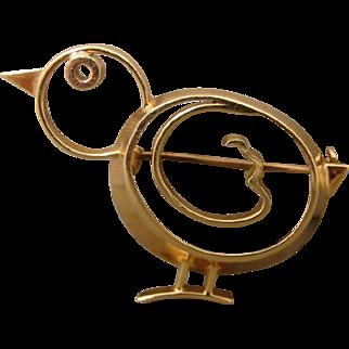 Vintage 14K Tiffany & Company Doodle Series Bird Pin