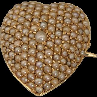 Victorian Edwardian 14K Pearl Heart Pendant Watch Pin