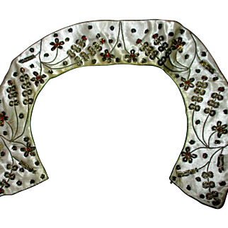 """Reduced Peter Pan collar, from India, metal and and beaded embroidery, 15"""""""