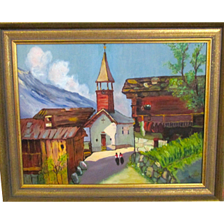 Reduced Oil painting of a skinny street in a  Swiss village , mid century, Ruth S Proctor, 60s. professionally framed.