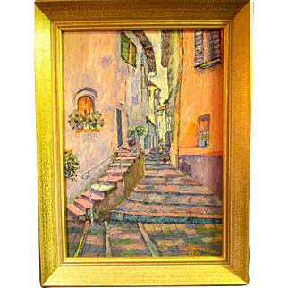 REDUCED Reduced Oil painting of the Amalfi Coast town, from 60's, Ruth S Proctor,