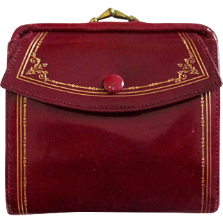 Reduced Italian red leather women's wallet: bill pocket in change purse.  vintage 60's