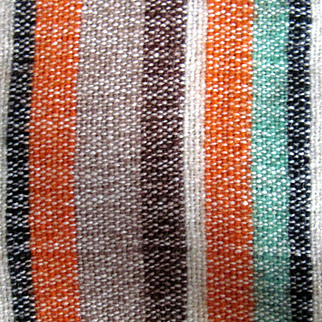 """SALE Reduced Hand Woven wool striped dresser scarf,  from 50s 36""""x16"""""""