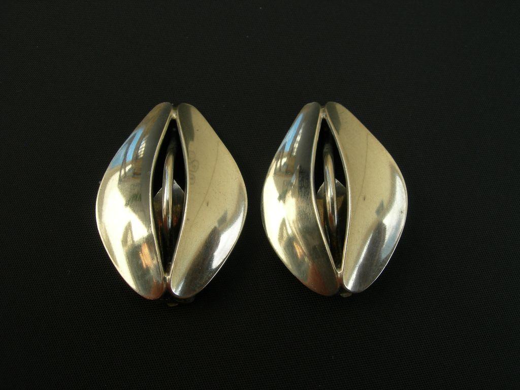 Danish Modern ~ Dansk Guldsmede Hanvaerk ~ Sterling Earrings ~ 1960s