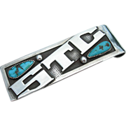 Frank Patania Sr. - Sterling Silver and Turquoise - Money Clip - Monogram STC