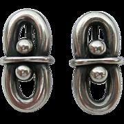Hans Hansen - Denmark Sterling Silver - Modernist Earrings- Early Marks