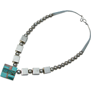 Ray Tracey ~ Sterling Silver ~ Turquoise Inlay ~ Chunky Necklace