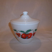 Fire King Apple & Cherries Grease Jar & Lid